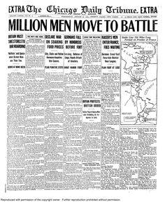Aug. 12, 1914: Million men move to battle.