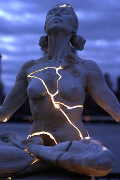 Cracked Light Woman Sculpture -4
