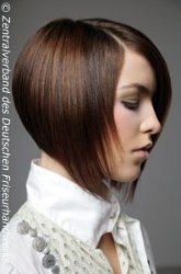 Bob haircut with increasing length on the sides