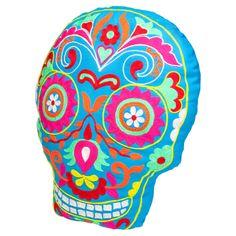 Fiesta skull cushion blue
