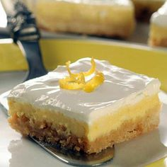 Lemon Cheesecake Bars - These are a perfect light dessert. Easy enough to make for any day of the week, but attractive enough to serve after a holiday meal or party