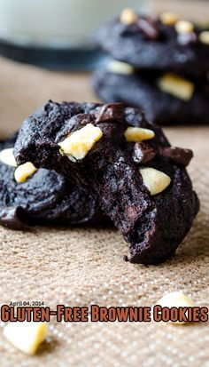Gluten-free Brownie Cookies. Flourless chocolate cookies that are like bite-sized brownies. These are full of chocolate flavor! | giverecipe.com | #flourless #cookies #glutenfree #chocolate #brownie #sweet #dessert