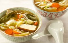 Miso Soup with Garlic and Ginger // Miso, typically made from fermented soybeans, is a powerful flavoring in soups. Its rich, salty flavor is highlighted best in miso soup, this hearty version of which is made with a generous amount of ginger and garlic.