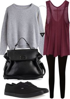 what to wear - Gray sweater combination with vans, black leather bag, triangle  and wine tank enjoy! :)