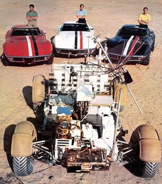 Apollo 15 crew with their color-coded Corvettes and the Lunar Rover