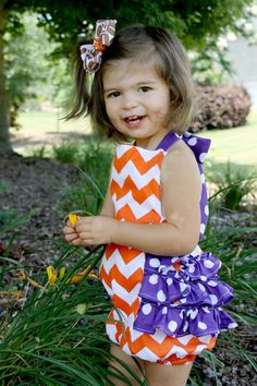 Perfect for football season and tailgating!!  Collegiate Ruffle Bubble Romper by goatandlulu on Etsy, $32.00