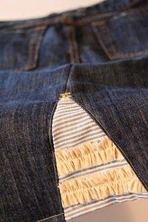 denim skirt from pants - love the ruffle detail!!