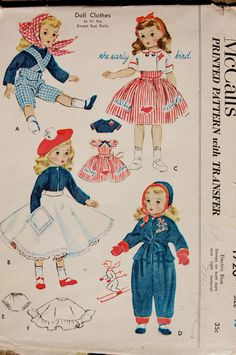 vintage sewing patterns, doll pattern, sew pattern, dollcloth