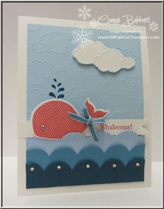 Oh Whale!--Stamps: Oh Whale!    Paper: Whisper White, Bashful Blue, Marina Mist, Not Quite Navy    Ink: Not quite Navy, Primrose Petals    Accessories: Cloudy Day folder, Happy Whale Clearlit Die, 1/8 Marina Mist ribbon, Tasteful Trim Die, Rhinestones