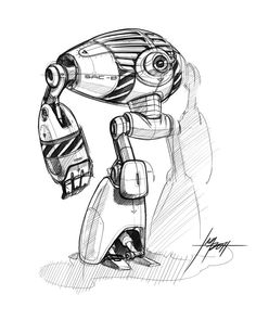 robot design, robot drawing, design sketch