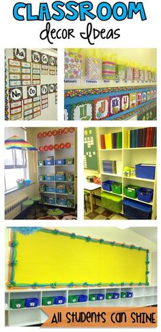 Classroom Decor And Organization Ideas - This post is FULL of great ideas for making your classroom bright and colorful
