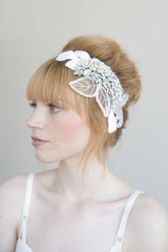 Bridal rhinestone headpiece  Crystal tulle and velvet by myrakim, $245.00