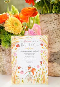 Floral Fox Spring Party Invitations on the Tiny Prints Blog today #partydecor