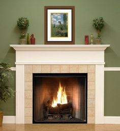 Our custom made Killen wood fireplace mantel painted white