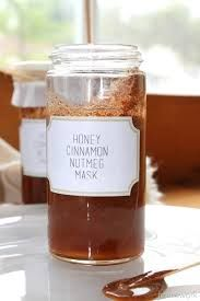 2tbsp honey, 1tsp cinnamon 1tsp nutmeg. Apply mask to face for 30 min. Rinse with warm water. Nutmeg and honey are natural anti-inflammatories. They heal acne scars and prevent infection. The nutmeg and cinnamon also exfoliate skin.
