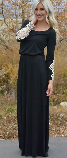 LOVE this unique modest dress: Crocheted Sleeve Maxi Dress Check out Dieting Digest