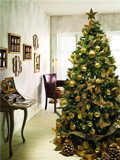 Decoración árbol de Navidad: destellos de oro