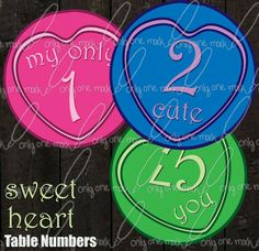 Table Numbers Sweet Heart Theme by OnlyOneMarkINC on Etsy, $20.00