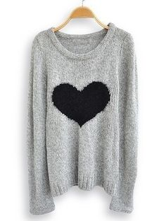 Light Grey Love Heart Round Neck Sweater
