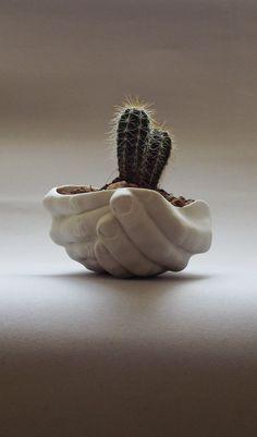 Porcelain planter - Folded Hands / Handmade by SCULPTUREinDESIGN