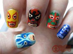 nail styles, nachos, nacho libre, masks, nail arts, tribal nails, nail design, lucha libre, art nails