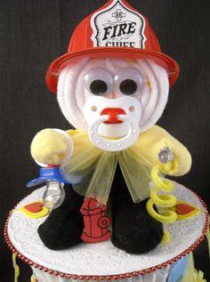 Firefighter Diaper Cake Baby Shower Fire Truck Fireman Diapering