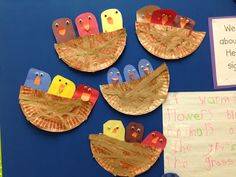 Super cute birds in a nest - paper plates with grocery sacks for nest.  Rounded rectangles for bird bodies, googly eyes and beaks.  Too cute!