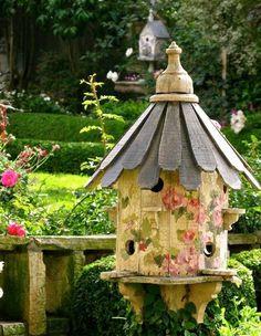 I love bird houses in the garden