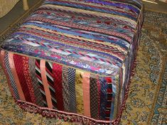 Tie One On! Upcycled and Repurposed Neckties - Necktie ottoman by Meg Jewell - mens men's gentlemens gentlemen's neckties ties neck-ties refashion upcycle recycle clothing clothes
