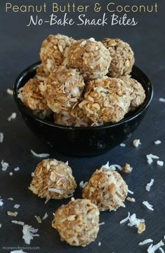 Peanut Butter & Coconut Snack Bites - These look SO good!!!