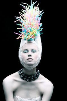⍙ Pour la Tête ⍙ hats, couture headpieces and head art - rainbow
