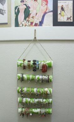 A great idea for organizing bracelets!  @newdressaday used @Waverly fabric to #waverize this #DIY organizer!