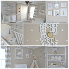 Calm & Soothing Rustic Chic Nursery.  Click to take a detailed tour round this baby's room http://www.babydeco.co.uk/nursery-tour-melissa/  #Nursery #interior #homedecor