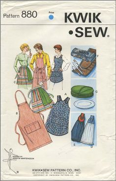 Vintage Apron Sewing Pattern | Aprons, Silverware Cover, Plate Cover, and Towel Hangers | Kwik Sew 880 | Year 198?