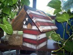 Primitive Americana - Birdhouse - Stars - Stripes - Decorative - Hand Painted - Tole Painted - Hanging - Rustic. $25.00, via Etsy.