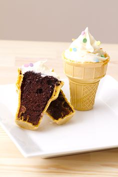Birthday Party Ice Cream Cone Cupcake Recipe:  Make the cake batter according to the package directions.  When the cake batter is ready, pour 1/4 cup to 2/3 cup of cake batter into each ice cream cone.  Once done, place the cones standing up in a muffin pan.  Bake for about 20 minutes.  Let cool.