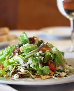 Fattoush Salad - a Mediterranean salad with torn toasted pita bread and a smooth lemony dressing