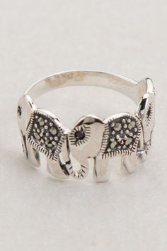 cute silver elephant ring
