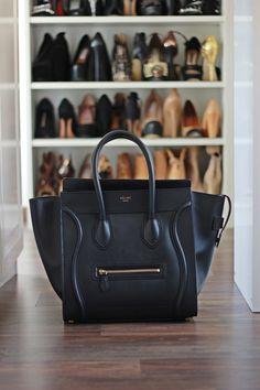 black leather tote #bag #Celine