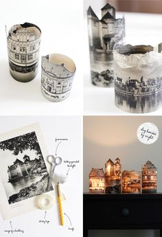 diy house deco, candles diy photo, house building, paper lantern, candle holders