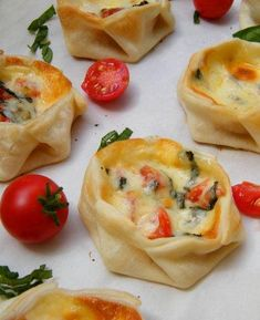 Basil, tomato, and mozzarella inside wonton wrappers.