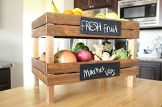 definitely beats the idea of fruit bowls taking up so much counter space! idea, fruit crate, craft, fruit bowls, home projects, home improvement projects, kitchen, diy home, home improvements