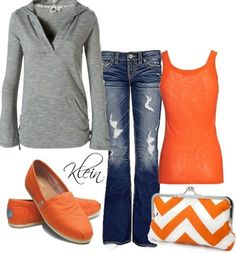 game day outfits, style, tom shoes, clutch, fall outfits, color combinations, oranges, fashion designers, chevron
