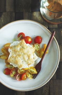 Tomato scallion shortcakes with whipped goat cheese