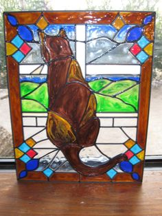 Cat in a window Stained glass window by windows2thesoul on Etsy, $34.00