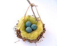 needle felted robin's nest. Spring
