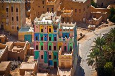 Beautiful palace color in a village in wadi doan-Hadramawt, Yemen by ronnyreportage, via Flickr