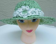 PDF Crochet Pattern - Wear it Your Way 3-pc Plarn Sun Hat with wide brim & detachable flower/adjustable headband