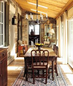Enclosed porch dining