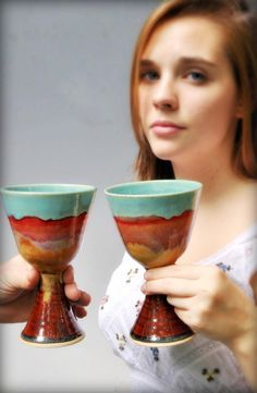 Ceramic Wine Glasses from Lee Wolfe Pottery